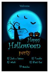 Halloween party invitation. Vector halloween design template with pumpkin, owl, bats on blue moon background.