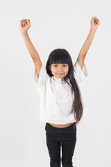 Happy children, little girl expressed gladness  on a white background