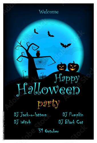 Halloween party invitation vector halloween design template with halloween party invitation vector halloween design template with pumpkin owl bats on blue stopboris Choice Image