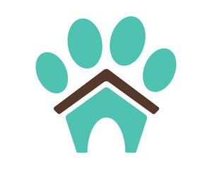blue paw pet house stall cage icon image vector
