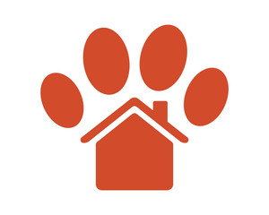 red paw silhouette pet house stall cage icon image vector