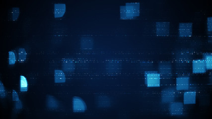Blue rows of abstract symbols and squares blurred lights