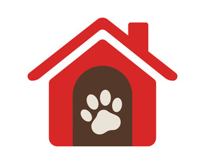 paw red pet house stall cage icon image vector