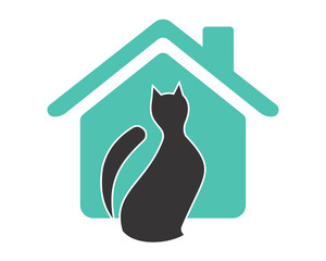 black cat silhouette pet house stall cage icon image vector