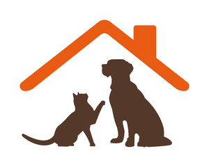 cat dog silhouette pet house stall cage icon image vector