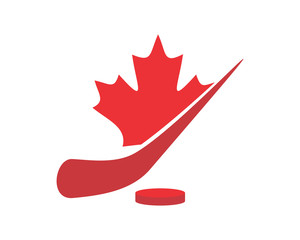 red hockey sport canada maple leaf icon image vector