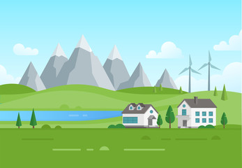Housing estate with windmills by the lake - modern vector illustration
