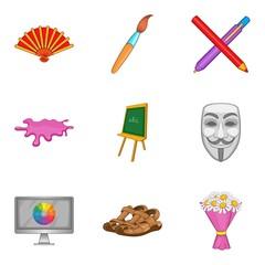 Portrayal icons set, cartoon style