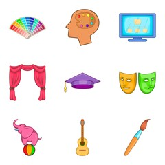 Art school icons set, cartoon style