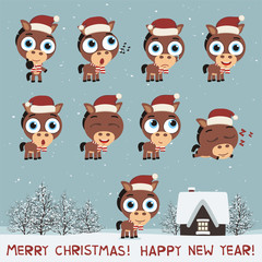 Merry Christmas and Happy New Year! Set funny horse in various poses for christmas decoration and design. Collection isolated horse in cartoon style.