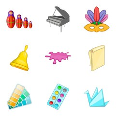 Adeptness icons set, cartoon style