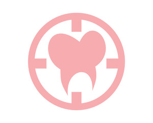 pink tooth dental dentists icon logo image vector