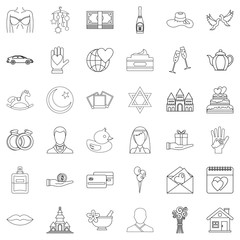 Bridegroom icons set, outline style
