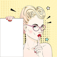 Comic Pop art blonde hair woman face with kiss mouth in glasses calls for silence and holds a white banner. Vector illustration.