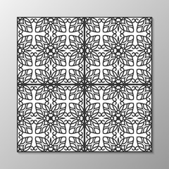 Seamless abstract ornamental black and white pattern. Vector illustration