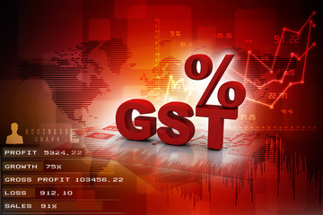 3d rendering GST Tax India with arrow