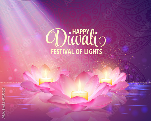 """Diwali Greeting Background. 3D Vector. Festival Of Lights"