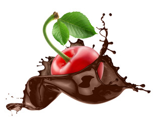 cherry in chocolate splash isolated on a white background