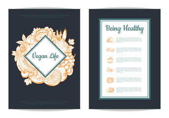 Vector handdrawn fruits and vegetables card, brochure, flyer template with frames