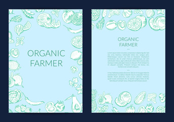 Vector handdrawn fruits and vegetables card, flyer template