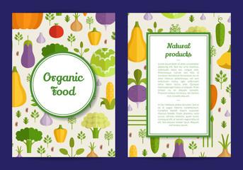 Vector flat vegetables vegan, healthy food card, brochure, flyer template