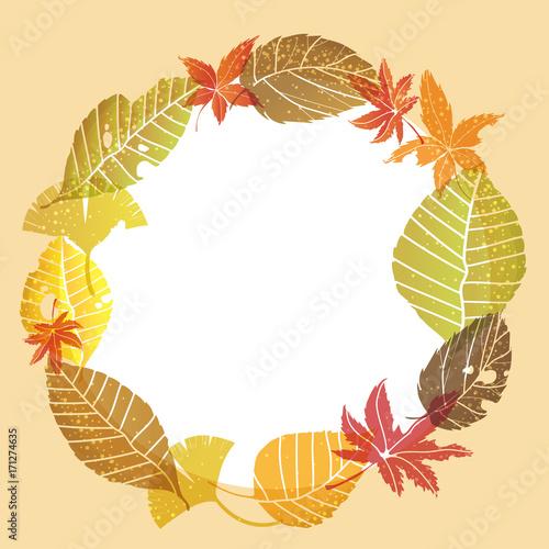 落ち葉のリースのイラスト囲み罫オーナメントleaf Ornaments