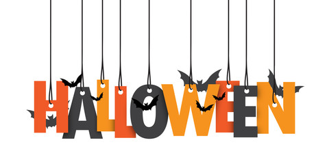 HALLOWEEN Hanging Letters with Bats