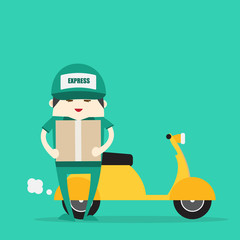 online ordering and fast delivery service. Goods delivery man hipster hold box and motorbike.