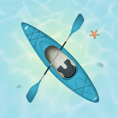 illustration of a kayak in the ocean