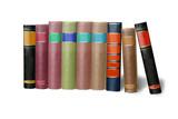 Bücher nebeneinander  Bücher nebeneinander und aufgeschlagen, freigestellt