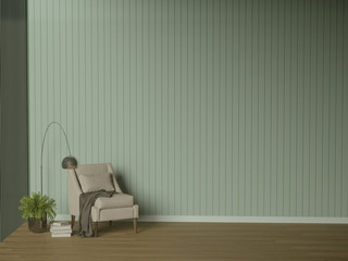 Simple Living RoomBlue Wall3D Illustration