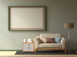 Simple Living room,Blue wall,3D illustration and sofa .