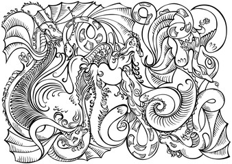 Abstract decoration motif dragons black white