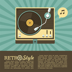 Player for vinyl records. Retro music. Logo, icon. Vector illustration with place for text.