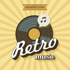 Retro music. Vector poster in retro style. The vinyl record. Vector emblem. Recording Studio