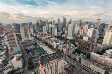 Makati Skyline at sunset. Makati is a city in the Philippines