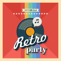 Retro party. The vinyl record. Vector poster in retro style. Vector emblem.