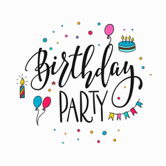 Happy Birthday Party lettering typography