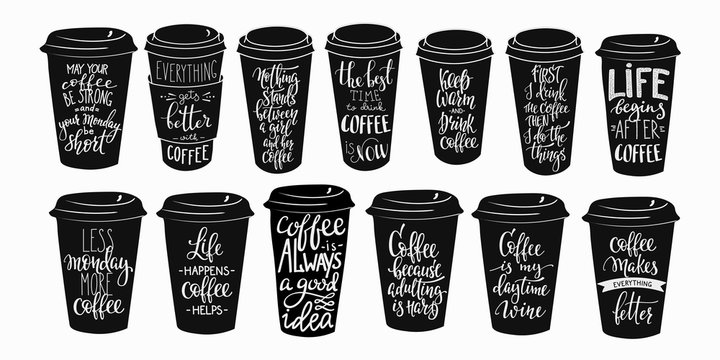 Quote coffee cup typography set