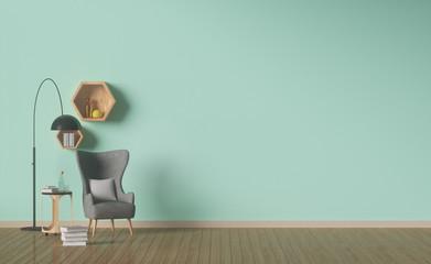 living room designed,Green wall,interior decoration,Shelf hexagonal,3D rendering Wall mural