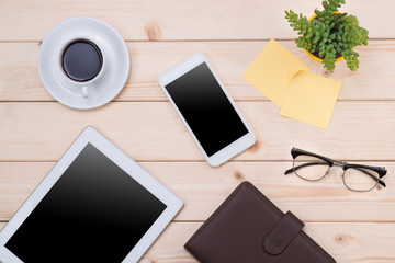 Tablet header image. Office stuff, workplace, top view