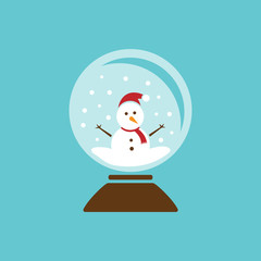 Colored glass ball icon with snow and snowman inside