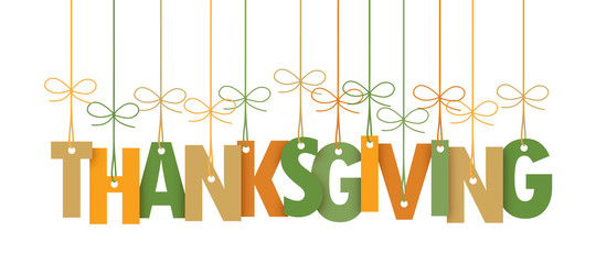 THANKSGIVING vector letters icon with autumn colours