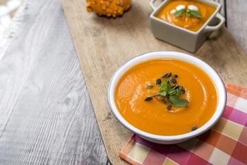Pumpkin cream on bowl