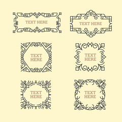 Classic Art Deco Luxury Minimal Hipster Geometric Vintage Vector Monogram, Frame , Border, Badge, Label, Crest, or Vintage Insignias, Vector Design Elements, Business Signs, Identity