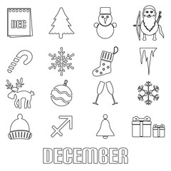 december month theme set of simple outline icons eps10