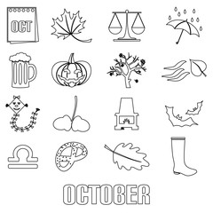 october month theme set of outline icons eps10