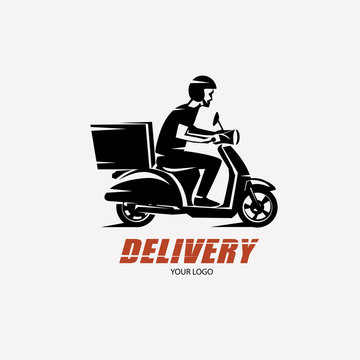 scooter delivery silhouette, logo template