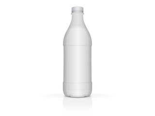 White plastic bottle with milk or yogurt for your design and logo
