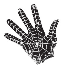 The spider spun a web on the palm of man.  Black hand with the web. Superhero has left its mark.  Hand vector drawing. Stylized print on a t-shirt. Black and white clipart. Sketch.